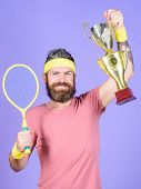Athlete Hold Tennis Racket And Golden Goblet. Man Bearded Hipster Wear Sport Outfit. Success And Ach poster