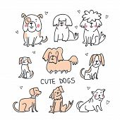 Set Of Cute Handdrawn Dogs Line Illustrations Isolated On White With Hearts. Cute Sketchy Dogs Breed poster
