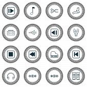 Audio Icons Set With Media Player, Previous Music, Rewind Music Back And Other Frequency Elements. I poster