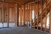 foto of hvac  - Framed building or residential home with basic electrical wiring and hvac complete - JPG