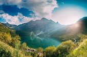 Tatra National Park, Poland. Famous Mountains Lake Morskie Oko Or Sea Eye Lake In Summer Evening. Be poster