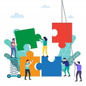 Teamwork. People Connecting Puzzle Elements. Symbol Of Teamwork, Cooperation, Partnership Vector Ill poster