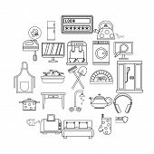 Cool House Icons Set. Outline Set Of 25 Cool House Vector Icons For Web Isolated On White Background poster