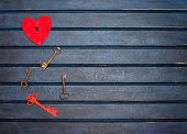 Keys With The Heart As A Symbol Of Love. Heart With A Keyhole. Vintage Card With Red Heart On Old Bl poster