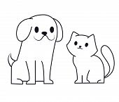 Simple Line Icon Design Of Puppy And Kitten. Cute Little Cartoon Dog And Cat Vector Illustration. Ve poster