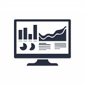 Analytics Monitor Icon. Trendy Flat Vector Analytics Monitor Icon On Transparent Background From Bus poster