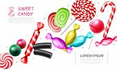 Realistic Sweet Candies Collection With Lollipop Bonbons Candy Cane Marmalade Jelly Gums Licorice Ve poster
