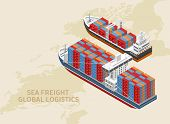 Two Freight Vessels Located Over World Map As Part Of Global Logistics poster