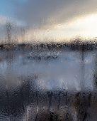 Misted Window In The House As A Background . poster