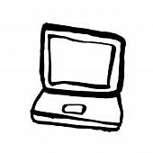 Laptop Grunge Icon. Handdrawn Ink Vector Illustration. poster