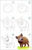 Page Shows How To Learn Step By Step To Draw A Cute Wild Boar. Back To School. Developing Children S poster