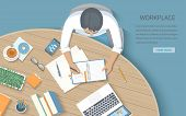 Мan Writing Notes In A Notebook At A Round Wooden Desk. Workplace Desktop Workspace Office Supplies, poster