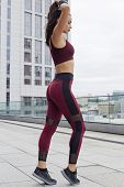Fitness Sporty Woman During Outdoor Exercises Workout. Beautiful Fit Girl Body. Fitness Model Outdoo poster