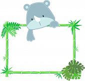 Cute baby rhino vector frame