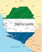 stock photo of freetown  - Abstract vector color map of Sierra Leone country colored by national flag - JPG