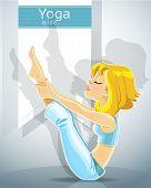 Girl in a yoga pose meru danda asana. Bonus - poster for your text