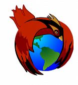 The Cardinal bird holds Mother Earth to protect her.