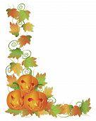 Carved Halloween Pumpkins And Vines Border Illustration
