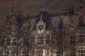 Historic Building In The Snow At Night, The Hague poster