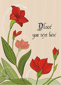 Beige background with bright red flowers