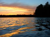 pic of off-shore  - Sunlight reflects off ripples of Sweeney Lake in Wisconsin - JPG