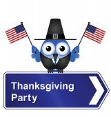 Thanksgiving day party sign
