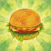 Tasty Hamburger On Grunge Background