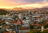 Sunset Scene Of Ljubljana Skyline In Slovenia