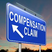 foto of workplace accident  - Illustration depicting a roadsign with a compensation claim concept - JPG