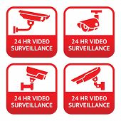 A set of CCTV camera red signs