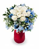 Colorful Floral Bouquet From White Roses And Delphinium Centerpiece In Red Vase Isolated On White Ba