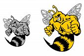 Angry Hornet Or Yellow Jacket Mascot