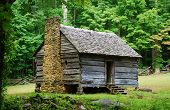 stock photo of naturalist  - An abandoned home is now a historical landmark inside the Great Smoky Mountains National Park - JPG