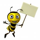 image of bee cartoon  - 3 d cartoon cute honey bee toy - JPG