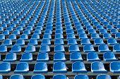 Blue Seats For Spectators In The Stadium
