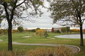 Getting a game in of golf on an overcast fall time