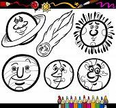 Cartoon planetas e Orbs coloração página