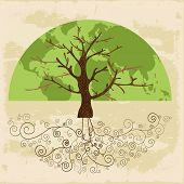 picture of tendril  - Tree globe map concept with curly roots  - JPG