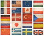 Grunge flags: USA, Great Britain, Italy, France, Denmark, Germany, Russia, Japan, Canada, Spain, Turkey, Netherlands, Australia, Poland, Sweden, Greece, China and others