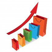 Sales growth chart. Presenting a getting better economy and increase of business income from the sal