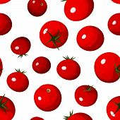 Vector seamless background with red tomatoes on white.