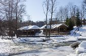 Frozen River Bank Wooden Village Houses Roof Snow