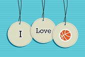 Hanging Basketball Sign Icons Set