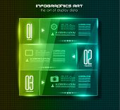 Infographic design template with glass surfaces.and spotlights. Ideal to display information, rankin