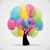 stock photo of fingering  - Diversity color tree finger prints illustration background set - JPG