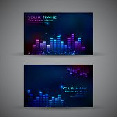 illustration of front and back of corporate business card with musical background
