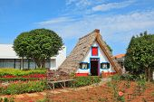 Charming white house with a gable roof. Old house-museum of the first settlers on the island of Madeira