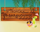 Tropical Beach Bar Wood Board Signpost, with sandy beach and palm tree leaves in the background and