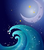 Illustration of an image of a big wave and a moon