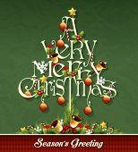 Christmas tree text vector